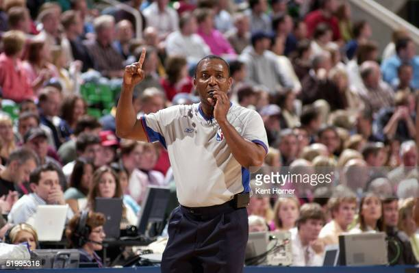 Referee Eddie F. Rush makes a call during the game between the Seattle Sonics and Utah Jazz on December 27, 2004 at the Delta Center in Salt Lake...