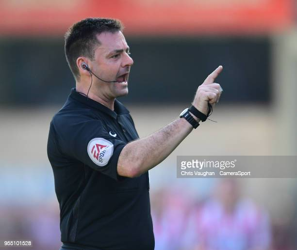 Referee Eddie Ilderton during the Sky Bet League Two match between Lincoln City and Yeovil Town at Sincil Bank Stadium on May 5 2018 in Lincoln...