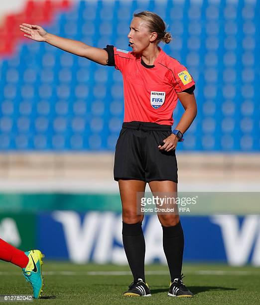 AZ ZARQA' JORDAN OCTOBER 04 Referee Ekaterina Koroleva gestures during the FIFA U17 Women's World Cup Jordan Group C match between Nigeria and...