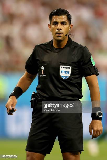 Referee Enrique Caceres looks on during the 2018 FIFA World Cup Russia group B match between Iran and Portugal at Mordovia Arena on June 25 2018 in...