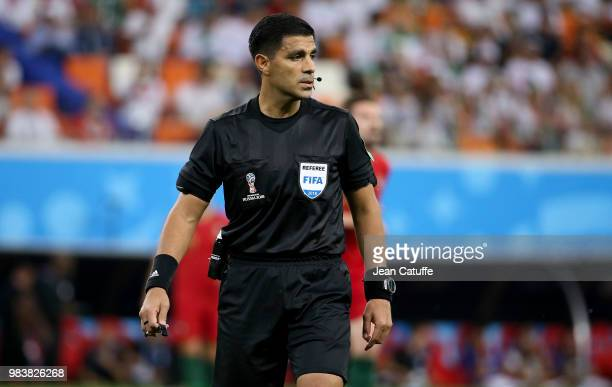 Referee Enrique Caceres of Paraguay during the 2018 FIFA World Cup Russia group B match between Iran and Portugal at Mordovia Arena on June 25 2018...