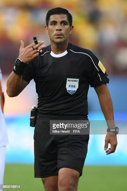 Referee Enrique Caceres of Paraguay in action during the FIFA U17 World Cup India 2017 group D match between Spain and Niger at the Jawaharlal Nehru...