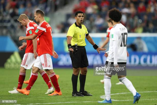 Referee Enrique Caceres reacts during the 2018 FIFA World Cup Russia group A match between Russia and Egypt at Saint Petersburg Stadium on June 19...
