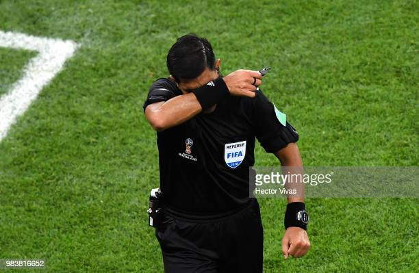 Referee Enrique Caceres reacts during the 2018 FIFA World Cup Russia group B match between Iran and Portugal at Mordovia Arena on June 25 2018 in...