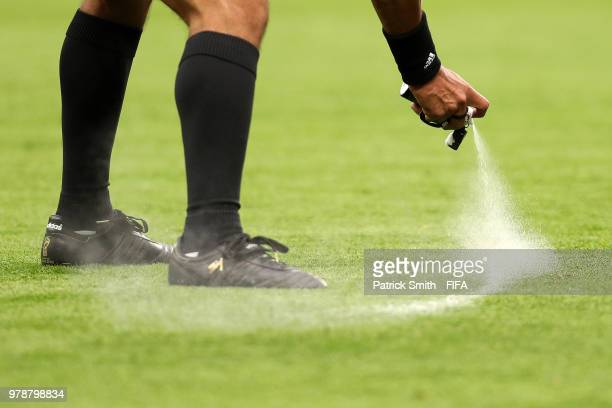 Referee Enrique Caceres uses vanishing spray during the 2018 FIFA World Cup Russia group A match between Russia and Egypt at Saint Petersburg Stadium...
