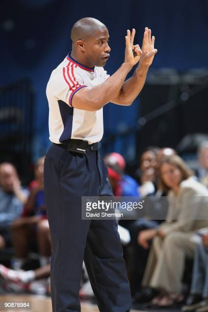 Referee Eric Brewton makes a call during the game between the Minnesota Lynx and the Detroit Shock on September 9, 2009 at the Target Center in...