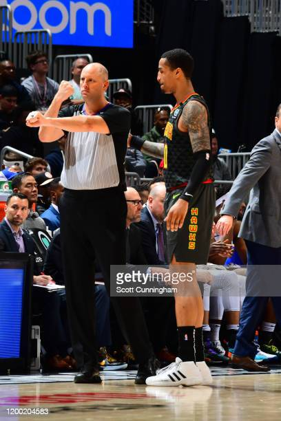 Referee, Eric Dalen makes a call during the game between the Atlanta Hawks and the New York Knicks on February 09, 2020 at State Farm Arena in...