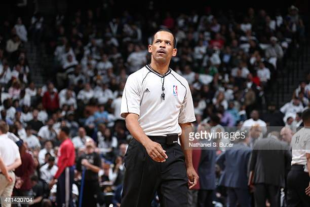 NBA referee Eric Lewis during the game between the Atlanta Hawks and Brooklyn Nets in Game Four of the Eastern Conference Quarterfinals during the...