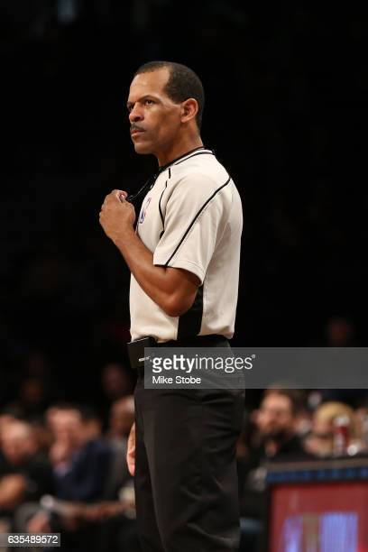 referee Eric Lewis in action during the game between the Brooklyn Nets and the Memphis Grizzlies at Barclays Center on February 13 2017 in Brooklyn...