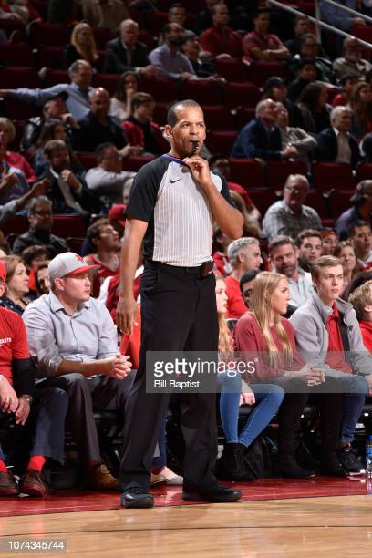 Referee Eric Lewis looks on during a game between the Utah Jazz and the Houston Rockets on December 17 2018 at the Toyota Center in Houston Texas...
