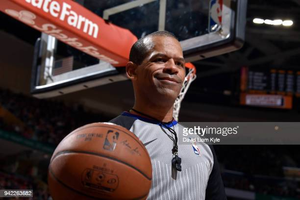 Referee Eric Lewis looks on during the Toronto Raptors game against the Cleveland Cavaliers on April 3 2018 at Quicken Loans Arena in Cleveland Ohio...
