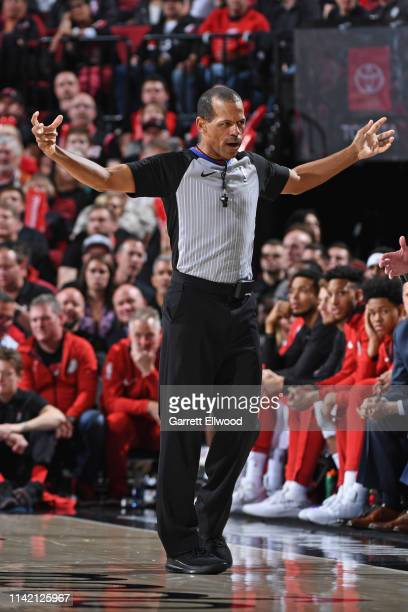 Referee Eric Lewis makes a call during Game Three of the Western Conference Semifinals of the 2019 NBA Playoffs between the Denver Nuggets and...