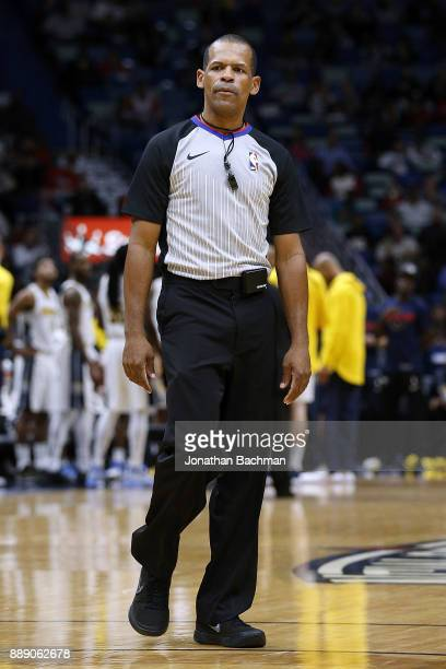 Referee Eric Lewis reacts during the second half of a game between the New Orleans Pelicans and the Denver Nuggets at the Smoothie King Center on...