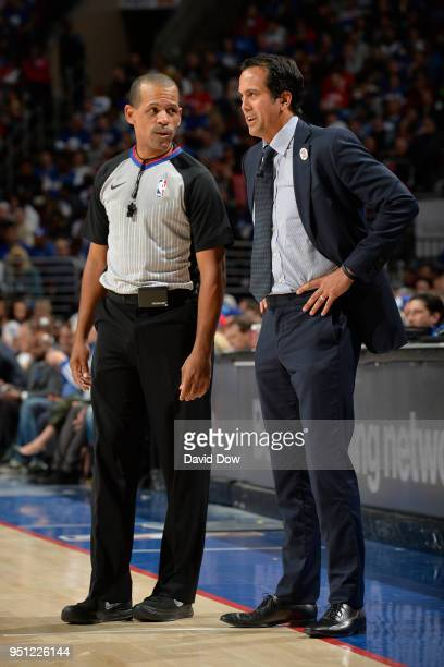 NBA referee Eric Lewis talks with Erik Spoelstra of the Miami Heat during the game against the Philadelphia 76ers in Game Five of Round One of the...