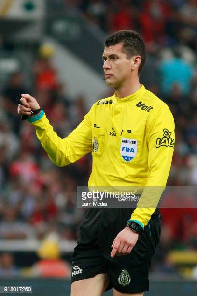 Referee Erick Yahir Miranda gestures during the 7th round match between Atlas and Necaxa as part of the Torneo Clausura 2018 Liga MX at Jalisco...