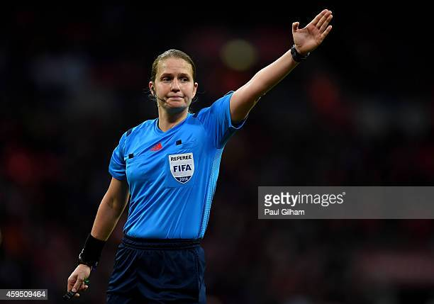 Referee Esther Staubli during the Women's International Friendly match between England and Germany at Wembley Stadium on November 23 2014 in London...