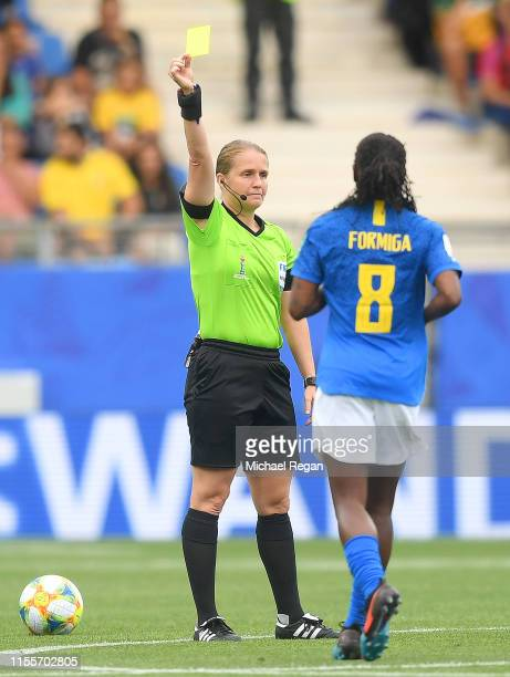 Referee Esther Staubli shows Formiga of Brazil a yellow card during the 2019 FIFA Women's World Cup France group C match between Australia and Brazil...