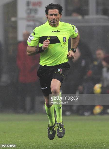 Referee Fabio Maresca looks on during the serie A match between AC Milan and FC Crotone at Stadio Giuseppe Meazza on January 6 2018 in Milan Italy