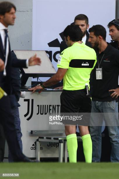 Referee Fabio Maresca watch Var TV during the Serie A football match n1 JUVENTUS CAGLIARI on at the Allianz Stadium in Turin Italy