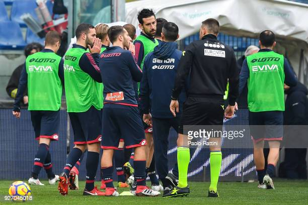 Referee Fabrizio Pasqua tells Andrea Biraschi Andrea Bertolacci and Nicolas Spolli of Genoa Davide Astori of Fiorentina has been found dead before...