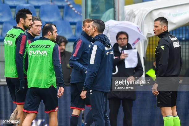 Referee Fabrizio Pasqua tells Nicolas Spolli Andrey Galabinov Goran Pandev and Luca Rigoni of Genoa Davide Astori of Fiorentina has been found dead...