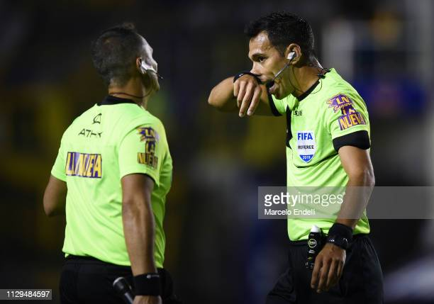 Referee Facundo Tello gestures during a match between Boca Juniors and San Lorenzo as part of Superliga 2018/19 at Estadio Alberto J Armando on March...