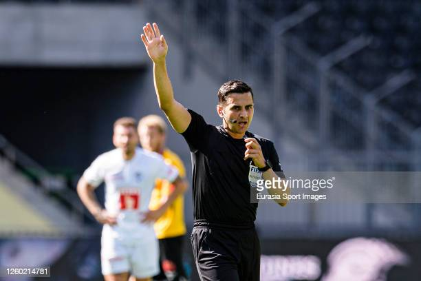 Referee Fedayi San gestures during the Swiss Super League match between BSC Young Boys and FC Luzern at Stadion Wankdorf on July 26 2020 in Bern...