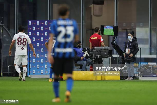 Referee Federico La Penna consults the VAR before awarding Inter a second half penalty which was duly despatched by Romelu Lukaku to givbe the side a...