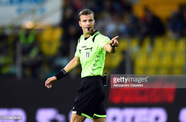 Referee Federico La Penna gestures during the Serie A match between Parma Calcio and Torino FC at Stadio Ennio Tardini on September 30, 2019 in...