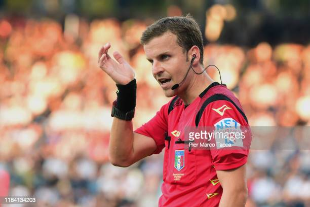 Referee Federico La Penna gestures during the Serie A match between SPAL and SSC Napoli at Stadio Paolo Mazza on October 27, 2019 in Ferrara, Italy.