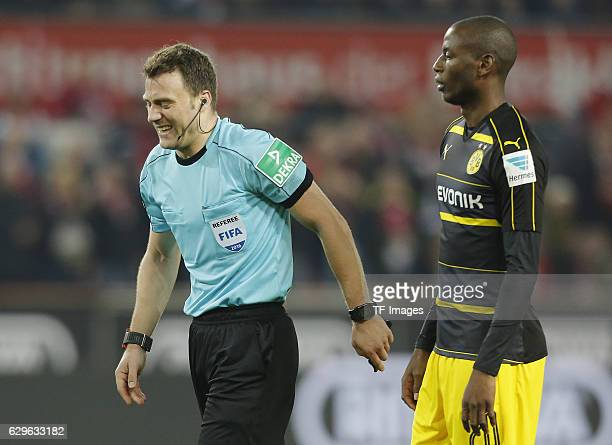 referee Felix Zwayer and Adrian Ramos of Dortmund looks on during the Bundesliga match between 1 FC Cologne and Borussia Dortmund at the RheinEnergie...