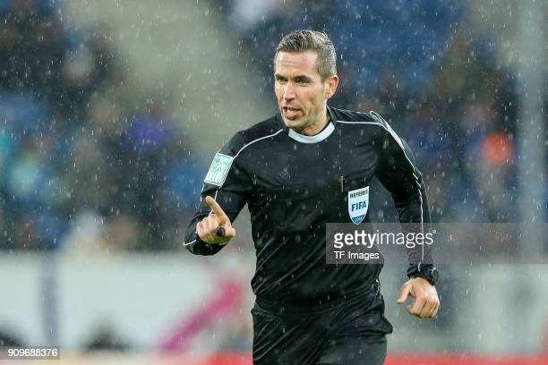 Referee Felix Zwayer gestures during the Bundesliga match between TSG 1899 Hoffenheim and Bayer 04 Leverkusen at RheinNeckarArena on January 20 2018...