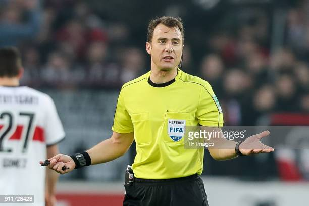 Referee Felix Zwayer gestures during the Bundesliga match between VfB Stuttgart and FC Schalke 04 at MercedesBenz Arena on January 27 2018 in...