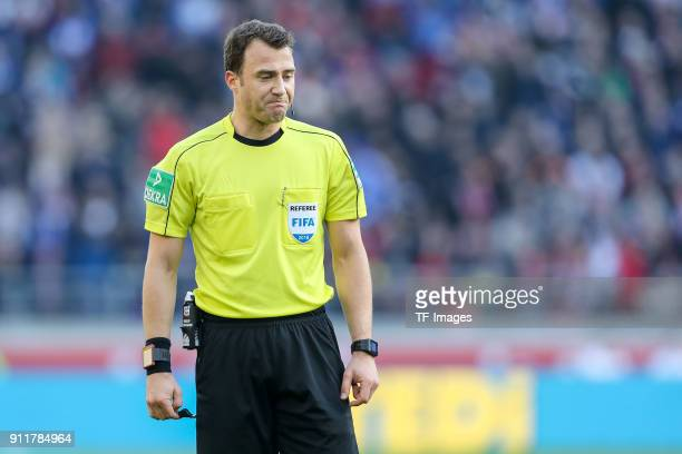 Referee Felix Zwayer looks on during the Bundesliga match between VfB Stuttgart and FC Schalke 04 at MercedesBenz Arena on January 27 2018 in...
