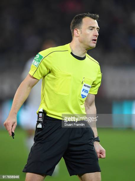 Referee Felix Zwayer looks on during the Second Bundesliga match between FC St Pauli and 1 FC Nuernberg at Millerntor Stadium on February 12 2018 in...