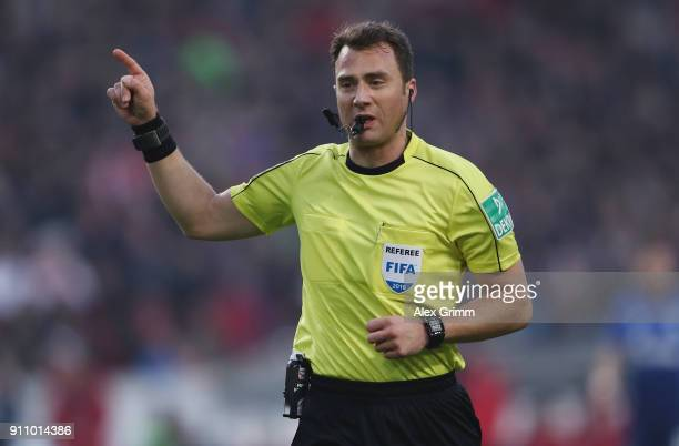Referee Felix Zwayer reacts during the Bundesliga match between VfB Stuttgart and FC Schalke 04 at MercedesBenz Arena on January 27 2018 in Stuttgart...