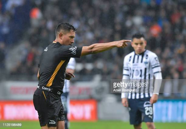 Referee Fernando Guerrero confirms a penalty after using the VAR during the 4th round match between Monterrey and America as part of the Torneo...