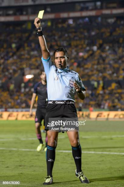 Referee Fernando Guerrero in action during the 12th round match between Tigres UANL and Chivas as part of the Torneo Apertura 2017 Liga MX at...