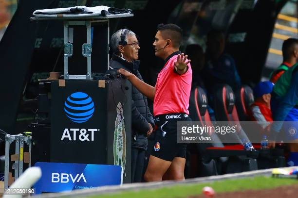 Referee Fernando Guerrero use the VAR during the 10th round match between America and Cruz Azul as part of the Torneo Clausura 2020 Liga MX at Azteca...