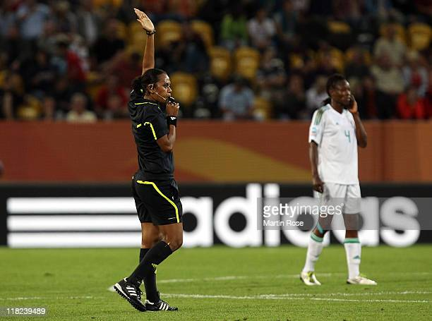 Referee Finau Vulivuli of Fiji blows the whistle during the FIFA Women's World Cup 2011 Group A match between Canada and Nigeria at...