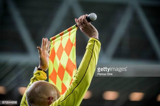 Referee flag during the Allsvenskan match between Hammarby IF and Halmstad BK at Tele2 Arena on November 5 2017 in Stockholm Sweden