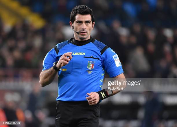 Referee F:Maresca during the Serie A match between Genoa CFC and AS Roma at Stadio Luigi Ferraris on January 19, 2020 in Genoa, Italy.