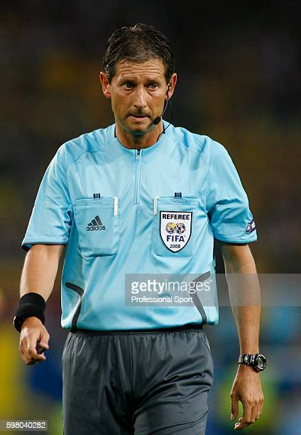 Referee Frank De Bleeckere in action during the UEFA EURO 2008 Group D match between Russia and Sweden at Stadion Tivoli Neu on June 18, 2008 in...