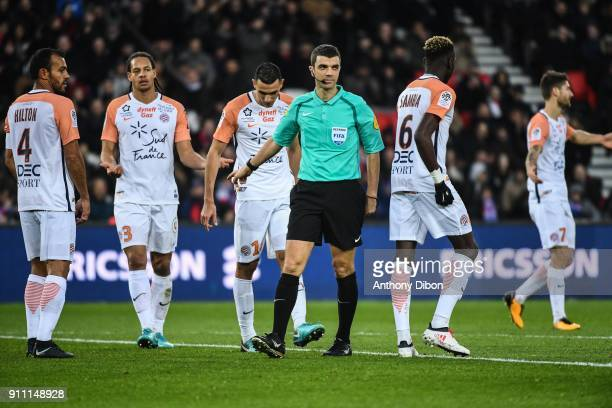 Referee Frank Schneider during the Ligue 1 match between Paris Saint Germain and Montpellier Herault SC at Parc des Princes on January 27 2018 in...