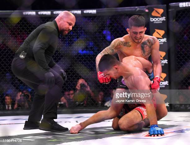 Referee Frank Trigg stops the fight as Sergio Pettis defeats Alfred Khashakyan in their bantamweight fight at The Forum on January 25, 2020 in...