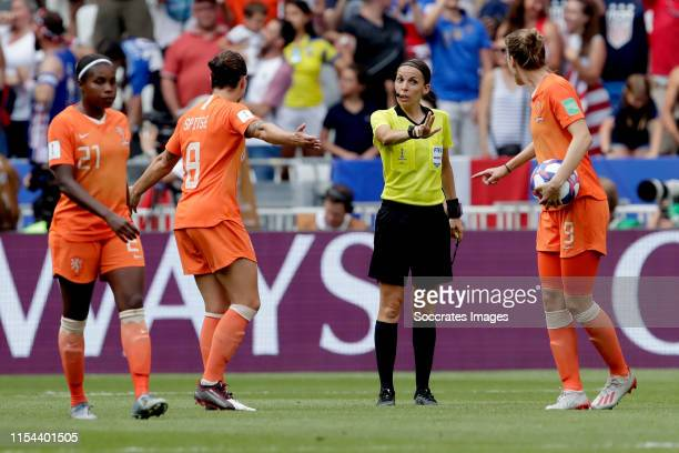 referee Frappart Stephanie Vivianne Miedema of Holland Women during the World Cup Women match between USA v Holland at the Stade de Lyon on July 7...