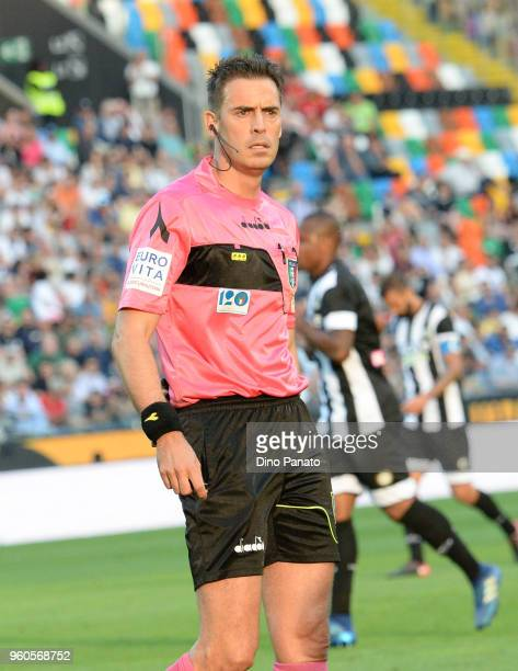 Referee Gavillucci looks on during the Serie A match between Udinese Calcio and Bologna FC at Stadio Friuli on May 20 2018 in Udine Italy