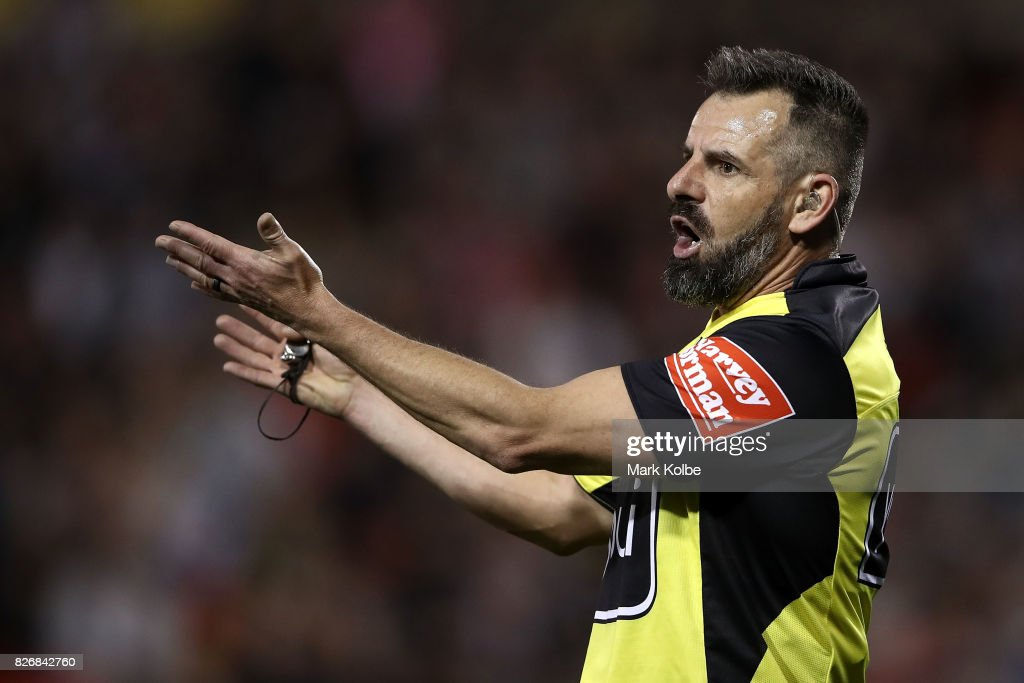 Referee Gavin Badger calls a knock on during the round 22 NRL match between the Penrith Panthers and the Wests Tigers at Pepper Stadium on August 6, 2017 in Sydney, Australia.
