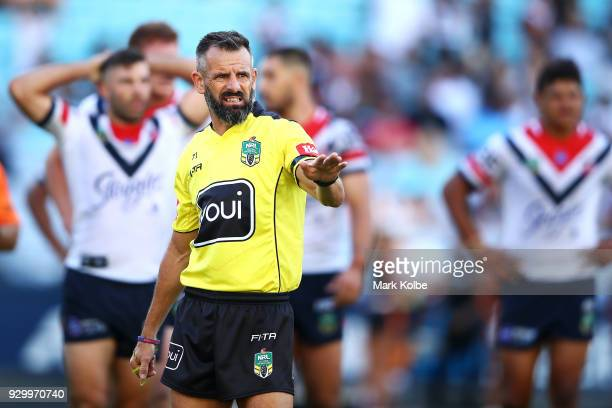 Referee Gavin Badger watches on during the round one NRL match between the Wests Tigers and the Sydney Roosters at ANZ Stadium on March 10 2018 in...