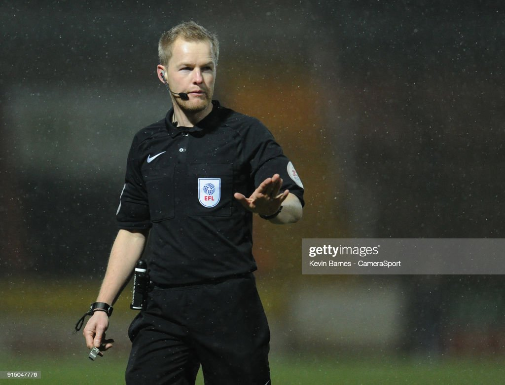 Referee Gavin Ward during the Checkatrade Trophy Quarter-Final match between Yeovil Town and Fleetwood Town at Huish Park on February 6, 2018 in Yeovil, England.
